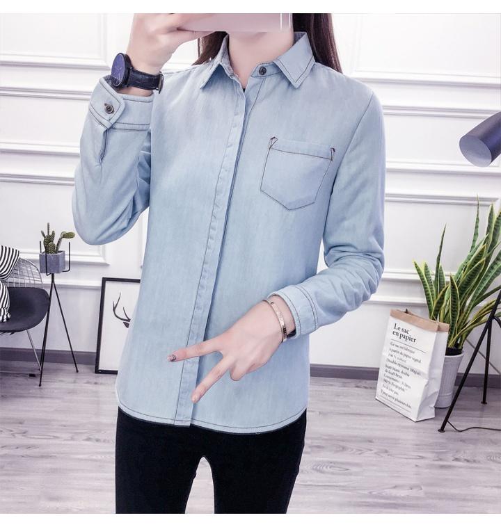 0703fd347f0 여성 기본 솔리드 데님 카라 포켓 남방 셔츠 레이어드