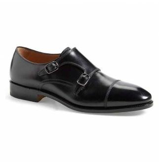 SALVATORE FERRAGAMO Salvatore Ferragamo Minato Black Tramezza Leather shoe Monk Strap 0654828 10.5 D Salvatore Ferragamo